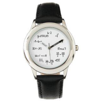 Ecuación divertida de la matemáticas reloj de mano