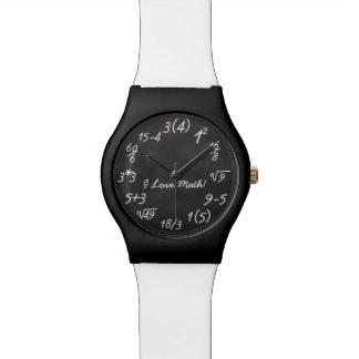 Ecuación divertida de la pizarra del friki de la reloj de mano