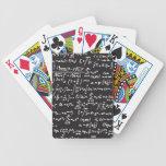 Ecuaciones de la matemáticas de la pizarra cartas de juego
