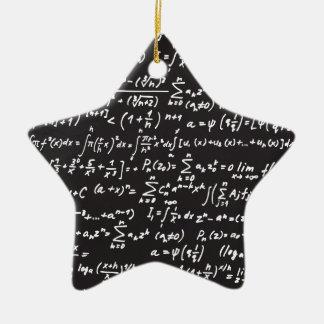 Ecuaciones de la matemáticas de la pizarra adorno de cerámica en forma de estrella