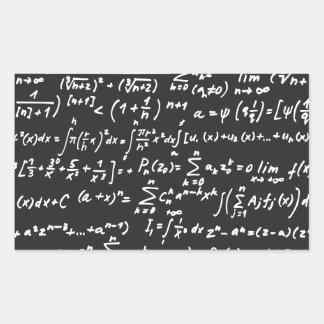 Ecuaciones de la matemáticas de la pizarra pegatina rectangular