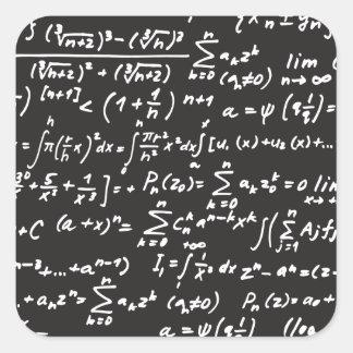 Ecuaciones de la matemáticas de la pizarra calcomanía cuadradas personalizadas