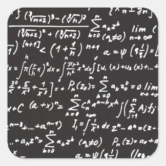 Ecuaciones de la matemáticas de la pizarra pegatina cuadrada