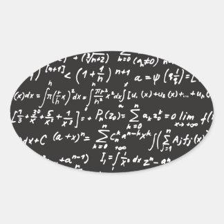 Ecuaciones de la matemáticas de la pizarra pegatina ovalada