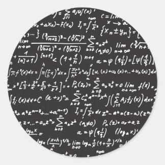 Ecuaciones de la matemáticas de la pizarra pegatina redonda
