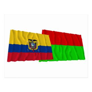 Ecuador and Bolívar waving flags Postcard