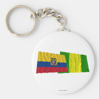 Ecuador and El Oro waving flags Basic Round Button Keychain
