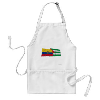 Ecuador and Manabí waving flags Adult Apron