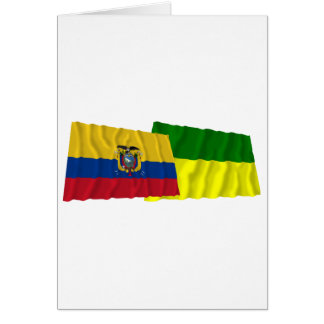 Ecuador and Morona-Santiago waving flags Card