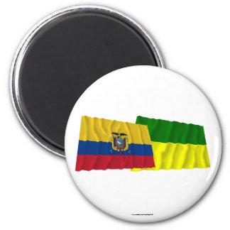 Ecuador and Morona-Santiago waving flags 2 Inch Round Magnet