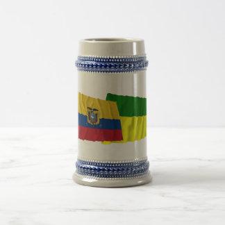 Ecuador and Morona-Santiago waving flags 18 Oz Beer Stein
