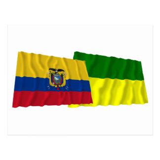 Ecuador and Morona-Santiago waving flags Postcard