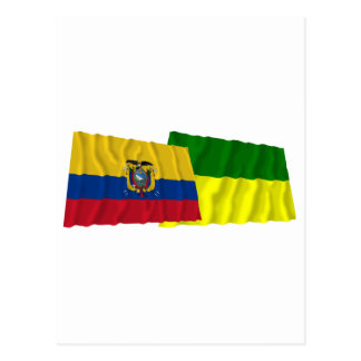 Ecuador and Morona-Santiago waving flags Postcard
