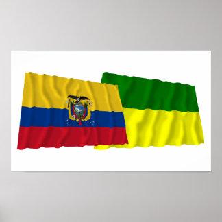 Ecuador and Morona-Santiago waving flags Poster