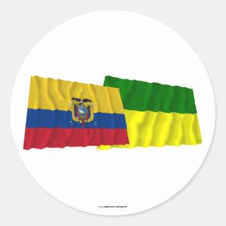 Ecuador and Morona-Santiago waving flags Classic Round Sticker