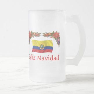 Ecuador Christmas Frosted Glass Beer Mug