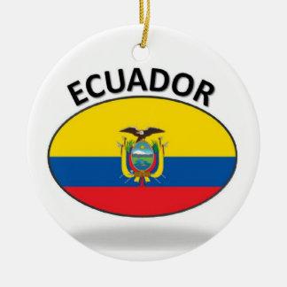 Ecuador Double-Sided Ceramic Round Christmas Ornament