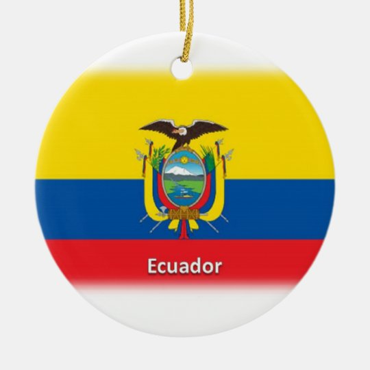 Ecuador Flag Ceramic Ornament