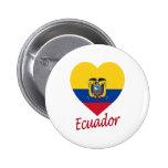 Ecuador Flag Heart Button