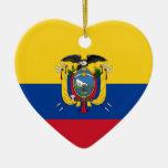 Ecuador Flag Heart Christmas Tree Ornaments