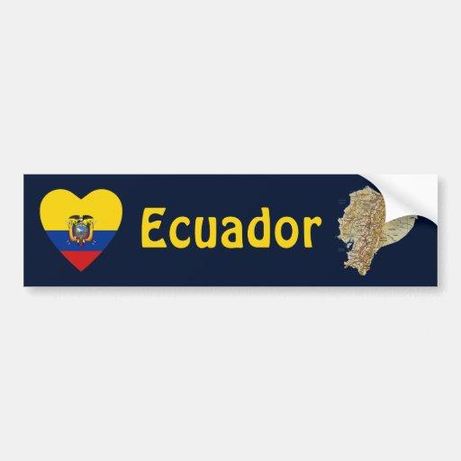 Ecuador Flag Heart + Map Bumper Sticker