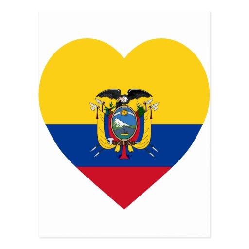Ecuador Flag Heart Postcard