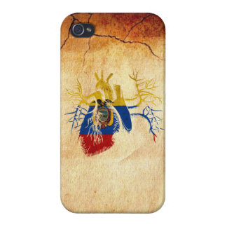 Ecuador Flag in Real heart Cover For iPhone 4