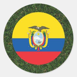 Ecuador Flag on Grass Classic Round Sticker
