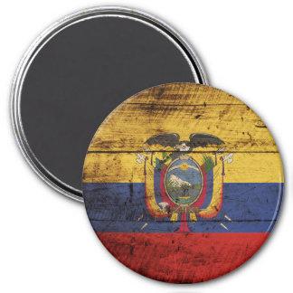 Ecuador Flag on Old Wood Grain Magnet