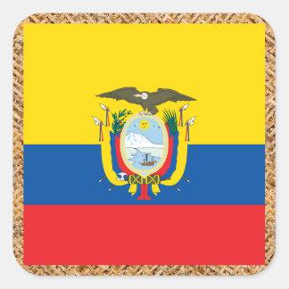 Ecuador Flag on Textile themed Square Sticker