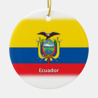 Ecuador Flag Double-Sided Ceramic Round Christmas Ornament