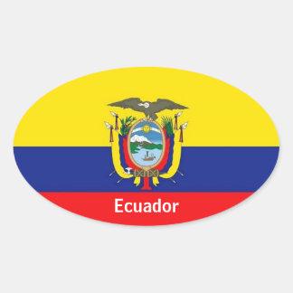 Ecuador flag oval stickers