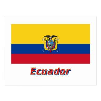 Ecuador Flag with Name Postcard