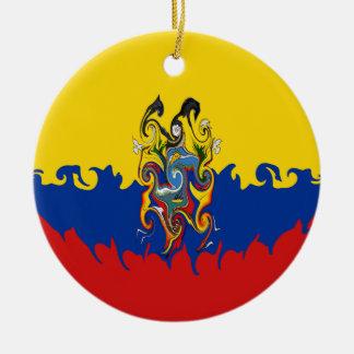 Ecuador Gnarly Flag Ceramic Ornament