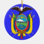 ECUADOR*- ornamento del navidad del escudo de Adorno Navideño Redondo De Cerámica