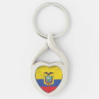 Ecuador Llavero Plateado En Forma De Corazón