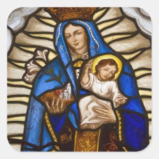 Ecuador, Quito. Estatua de la Virgen coa alas Calcomanías Cuadradas Personalizadas