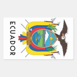 Ecuador - símbolo/escudo de pegatina rectangular