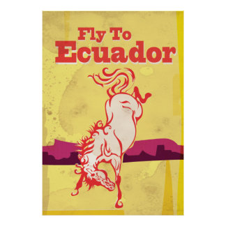 Ecuador Vintage Travel Poster