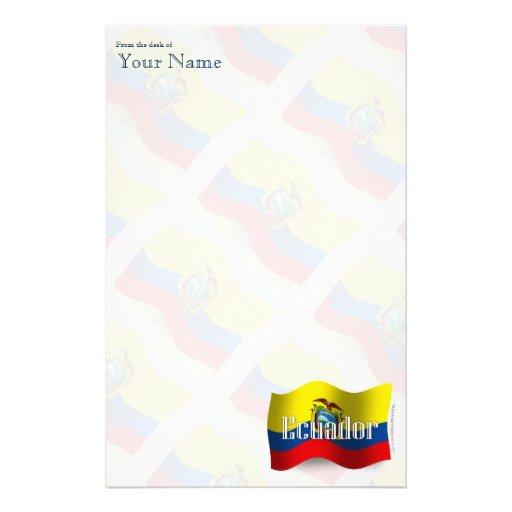Ecuador Waving Flag Customized Stationery