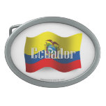 Ecuador Waving Flag Oval Belt Buckles