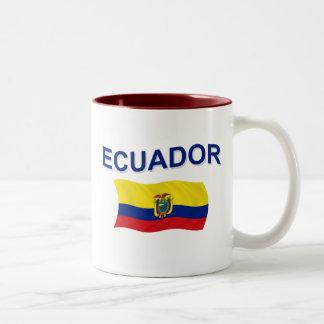 Ecuador Wavy Flag Two-Tone Coffee Mug