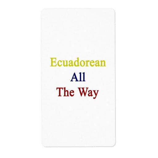 Ecuadorean All The Way Shipping Labels