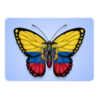 Ecuadorian Butterfly Flag on Blue 5x7 Paper Invitation Card