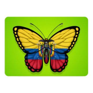 Ecuadorian Butterfly Flag on Green 5x7 Paper Invitation Card