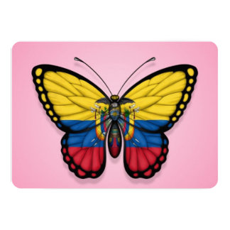 Ecuadorian Butterfly Flag on Pink 5x7 Paper Invitation Card
