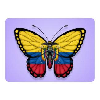 Ecuadorian Butterfly Flag on Purple 5x7 Paper Invitation Card