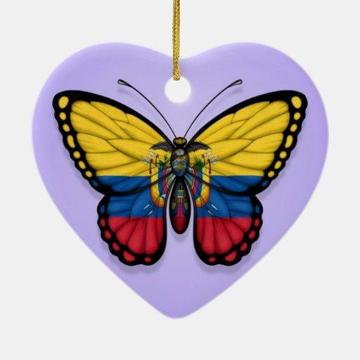 Ecuadorian Butterfly Flag on Purple Ornament