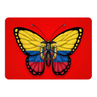 Ecuadorian Butterfly Flag on Red 5x7 Paper Invitation Card