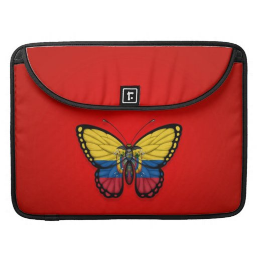 Ecuadorian Butterfly Flag on Red Sleeve For MacBook Pro